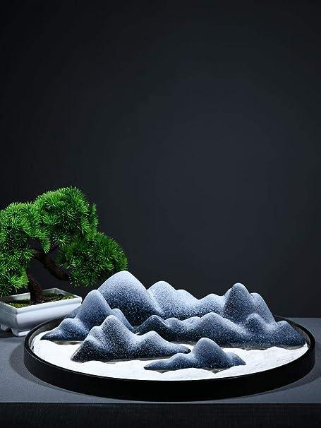 Laogg Jardin Zen Adornos De Piedra China Taiwán De Piedra Cerámica Decoración De Arte Zen Paisaje Seco Accesorios De Salón De Té: Amazon.es: Hogar