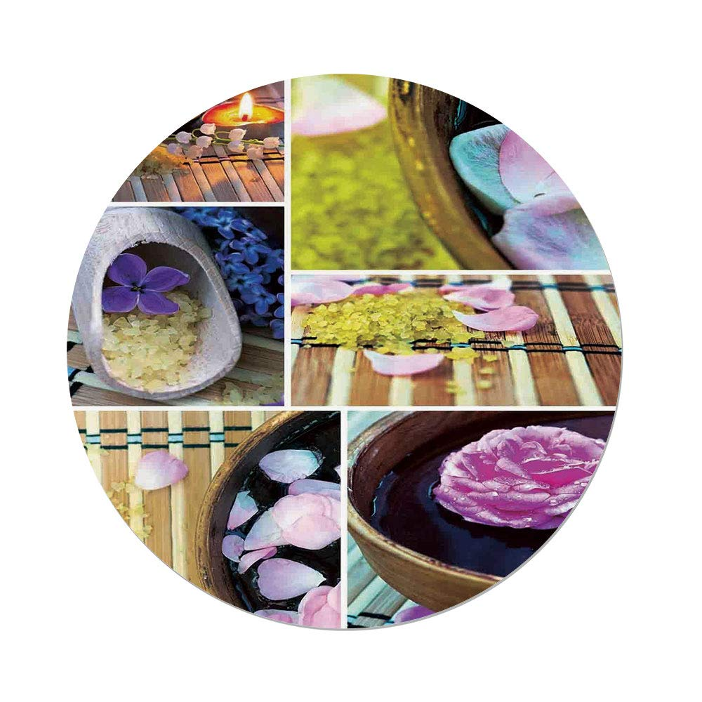 iPrint Polyester Round Tablecloth,Spa,Spa Organic Cosmetics Theme Wooden Bowl Petals Lavender Candle Pebbles Therapy Oil,Purple Brown,Dining Room Kitchen Picnic Table Cloth Cover,for Outdoor Indoor
