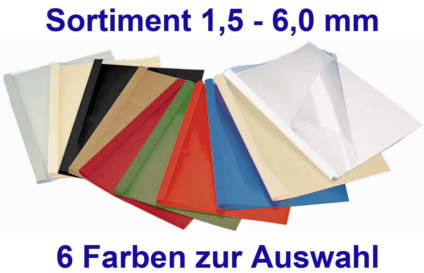 20 Thermobindemappen SORTIMENT 1.5 / 3.0 / 4.0 / 6.0 mm (10 -60 Blatt) - Ledergeprä gt (rot) FALAMBI