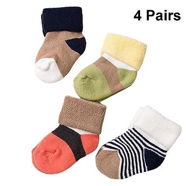 TENDYCOCO 4 pares de bebés varones calcetines de algodón de invierno niños suaves calcetines térmicos cálidos calcetines sin costuras gruesos tamaño XS: Amazon.es: Ropa y accesorios