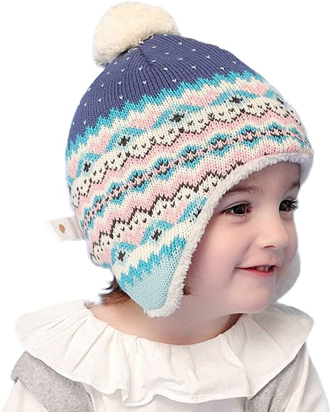Connectyle Toddler Baby Kids Fleece Lined Knit Kids Hat with Earflap Winter Hat