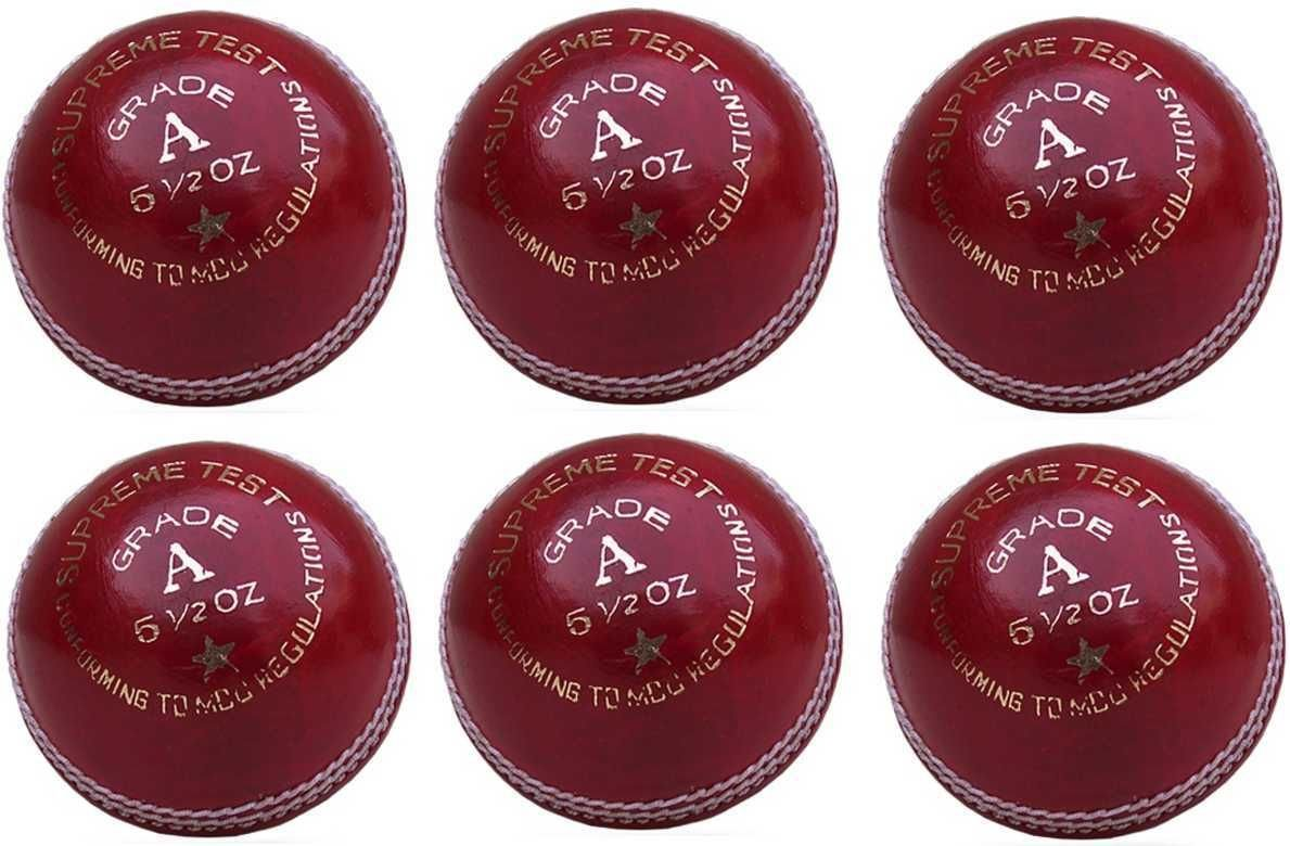 6x GRADE A Supreme Test Professional Red Leather 5.5oz Cricket Balls BOOM Prime