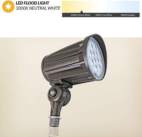 Westgate LED Outdoor Flood Light- Landscape Garden Bullet Flood Lights – Path Walkway Lawn Spotlights – Knuckle Mount – IP65 Waterproof – High Lumen – UL DLC Listed – 120-277V 3000k Warm White, 27W