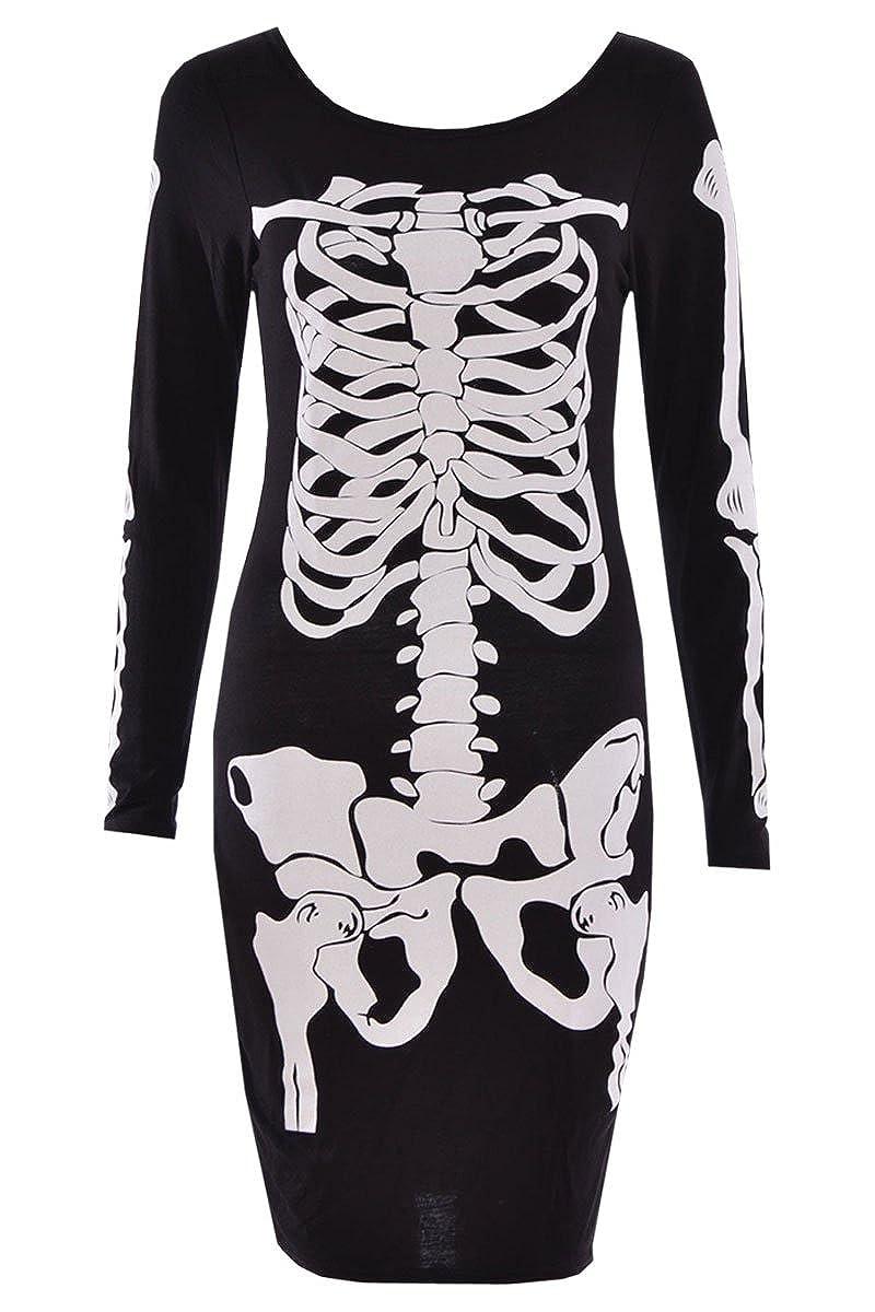 Ladies Women Halloween Skeleton Skull Bones Print Stretch Bodycon Tunic Dress Strap Top Vest Bodysuit