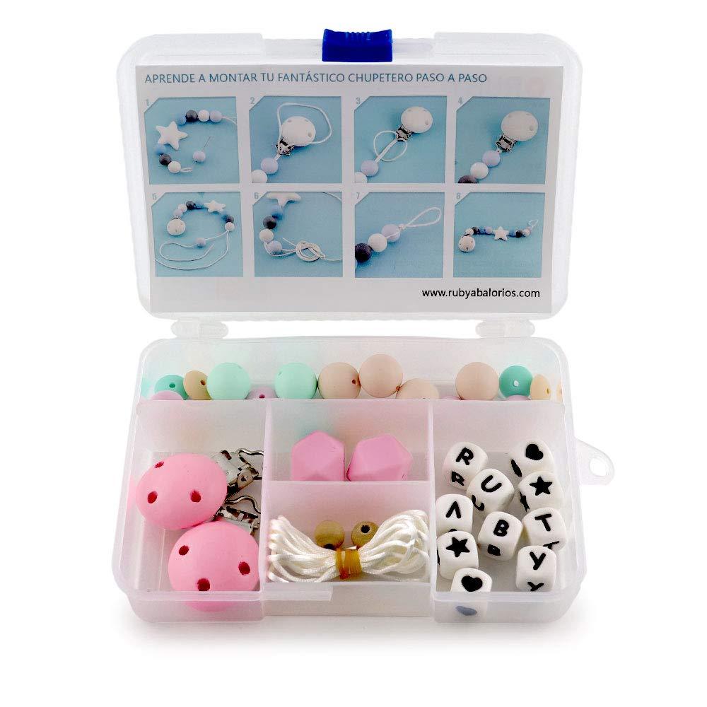 RUBY - Kit 2 pcs Chupetero con nombre personalizado con pinza y bola silicona antibacteria para bebe. Envío urgente gratis (Mixto)
