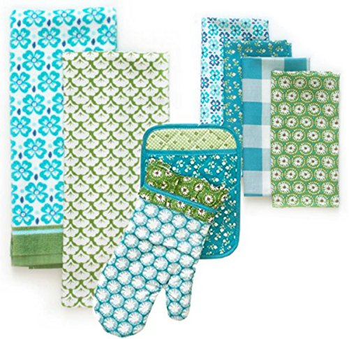 The Pioneer Woman Kitchen Set Flea Market Teal Towel, Oven Mitt, Pot Holder and Napkins - 8 Piece Set …