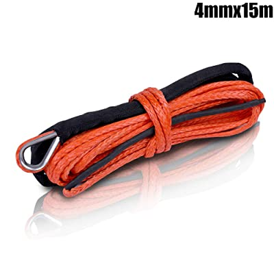 ZESUPER Synthetic Winch Rope1/6''x 50' 8000LBs Winch Rope Cable with Sheath Winches for Winches SUV ATV UTV Vehicle Boat Ramsey Car (Orange 4x15): Automotive