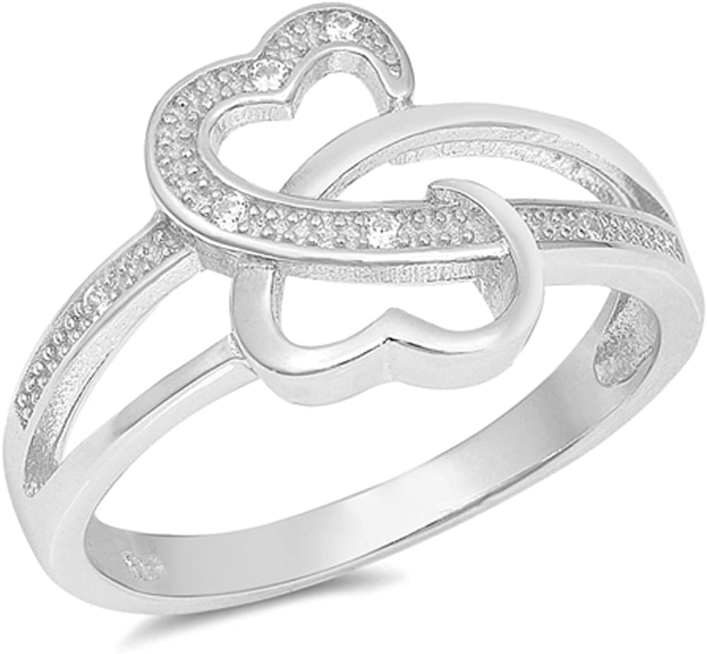 CloseoutWarehouse Clear Cubic Zirconia Two Hearts Design Ring Sterling Silver