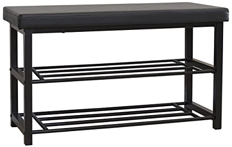 Best Choice Products 2 Tier Metal Storage Bench Shoe Rack Organize  W/Leather Top