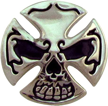Silver Biker Skull Metal Cross Concho 3D Motorcycle Leathercraft Accessory Gift