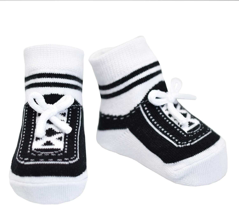 Baby Infant Boy /& Girl Shoe Look Socks-Anti slip Soles 3 Pairs Newborn Gift Soft Combed Cotton