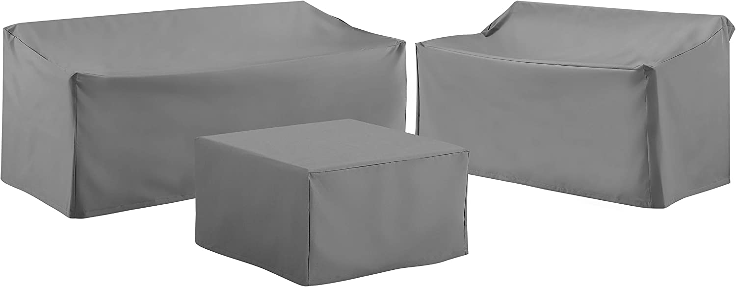 Crosley Furniture MO75010-GY Heavy-Gauge Reinforced Vinyl 3-Piece Furniture Cover Set (Loveseat, Sofa, Square Table/Ottoman), Gray
