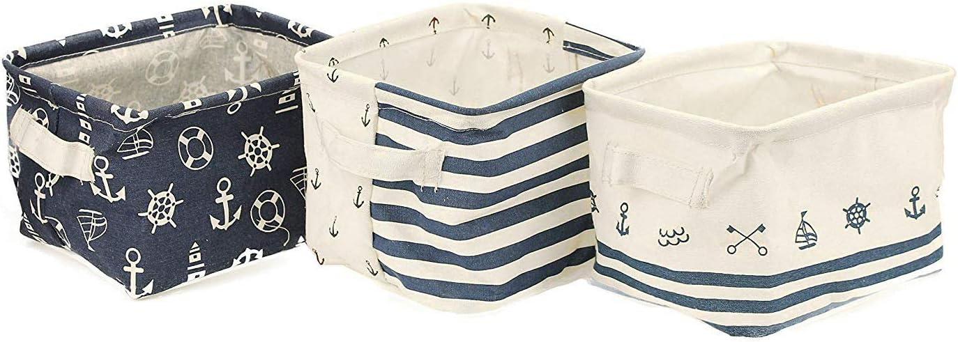 Navy Blue Nautical Anchor Away Foldable Fabric Storage Cube Bins Boxes 2pc Set