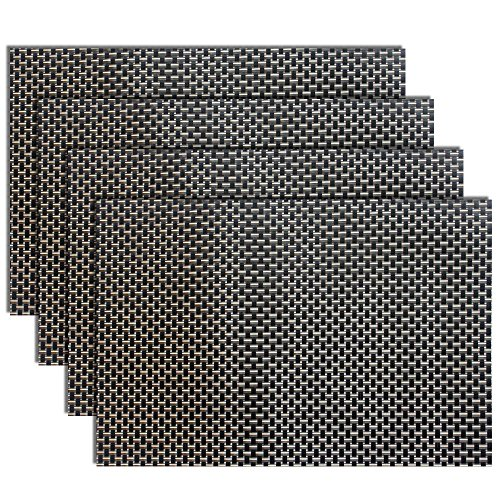 Textilene-Placemat-Smooth-Waterproof-Oilproof-Non-toxic-Cool-Wear-and-Tear-Resistant-Kintted-by-Black-Gold-Composite-Threads-Four-Pieces-Per-Set
