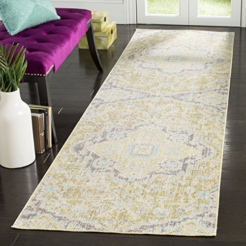 Safavieh WDS329E-310 Windsor Collection Abstract Area Runner, 3' x 10', Light Grey/Lime