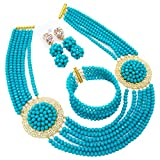 Product review for aczuv African Jewelry Sets for Women Nigerian Beads Jewelry Set Bridal and Earrings