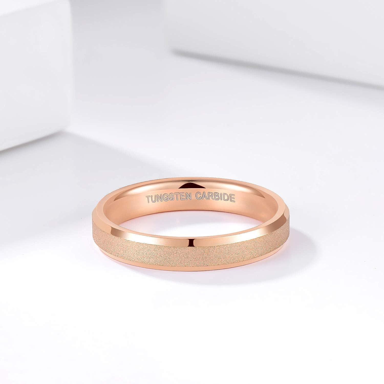 Greenpod 4mm 6mm Rose Gold Tungsten Carbide Rings for Women Men Couples Sandblasted Beveled Edge Wedding Bands Size 4-13