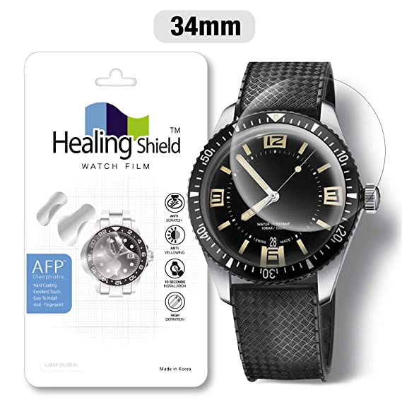 Smartwatch Screen Protector Film 34mm for Healing Shield AFP Flat Wrist Watch Analog Watch Glass Screen Protection Film (34mm) [1PACK]