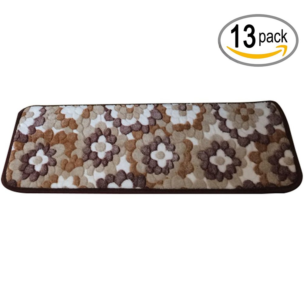 TINTON LIFE Rectangle Stair Rugs Pads Stepping Pads Stair Mats Non-Slip Carpet For Home Hotel Hall-Set of 13 (Flower, 23.62''7.87'')