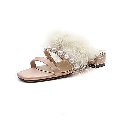 amazon com kingwhisht fur slippers sandals shoes silk open toe