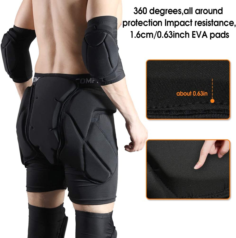 Suitable for SKi Skate and Snowboard and Other Sports Shinestone Protective Padded Shorts Detachable Padded Protection Shorts Pants Impact Resistance for Hip,Butt and Tailbone