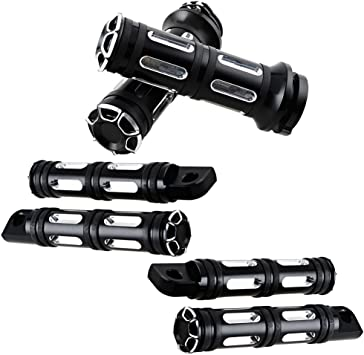 YIEKO 1 CNC Hand Grip Edge Cut Motorcycle Handlebar Grip Compatible with Harley Touring Sportster Dyna Softail V-Rod