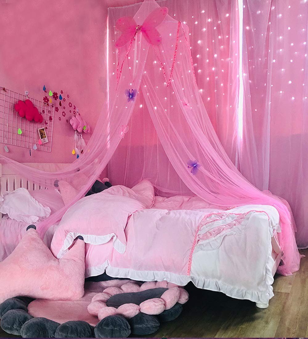 Mengersi Butterfly Bed Canopy Curtain Mosquito Net Play Tent for Girls Boys Kids Children Play Reading Games House Twin to King (Pink)