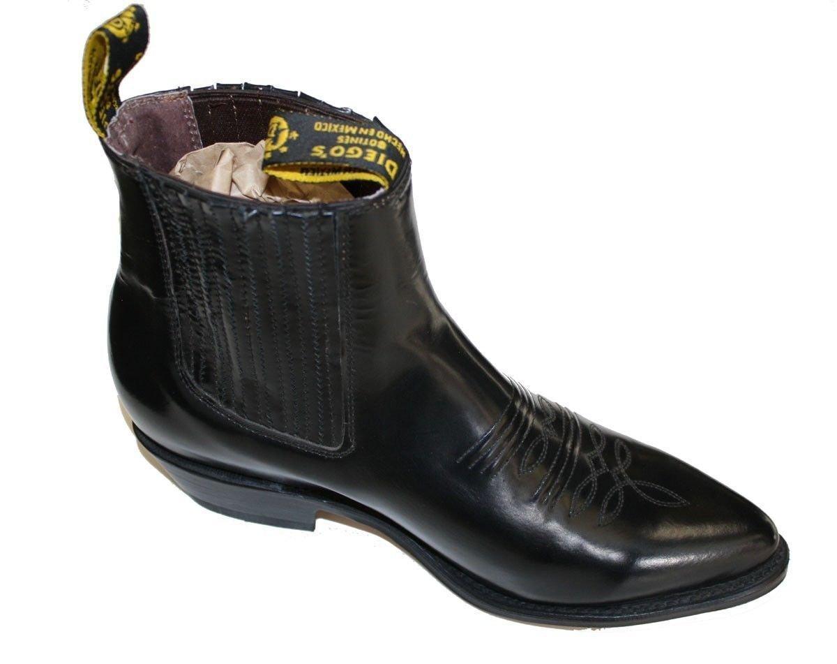 Men Genuine Cowhide Short Ankle Desgin Cowboy Boots_Black-11