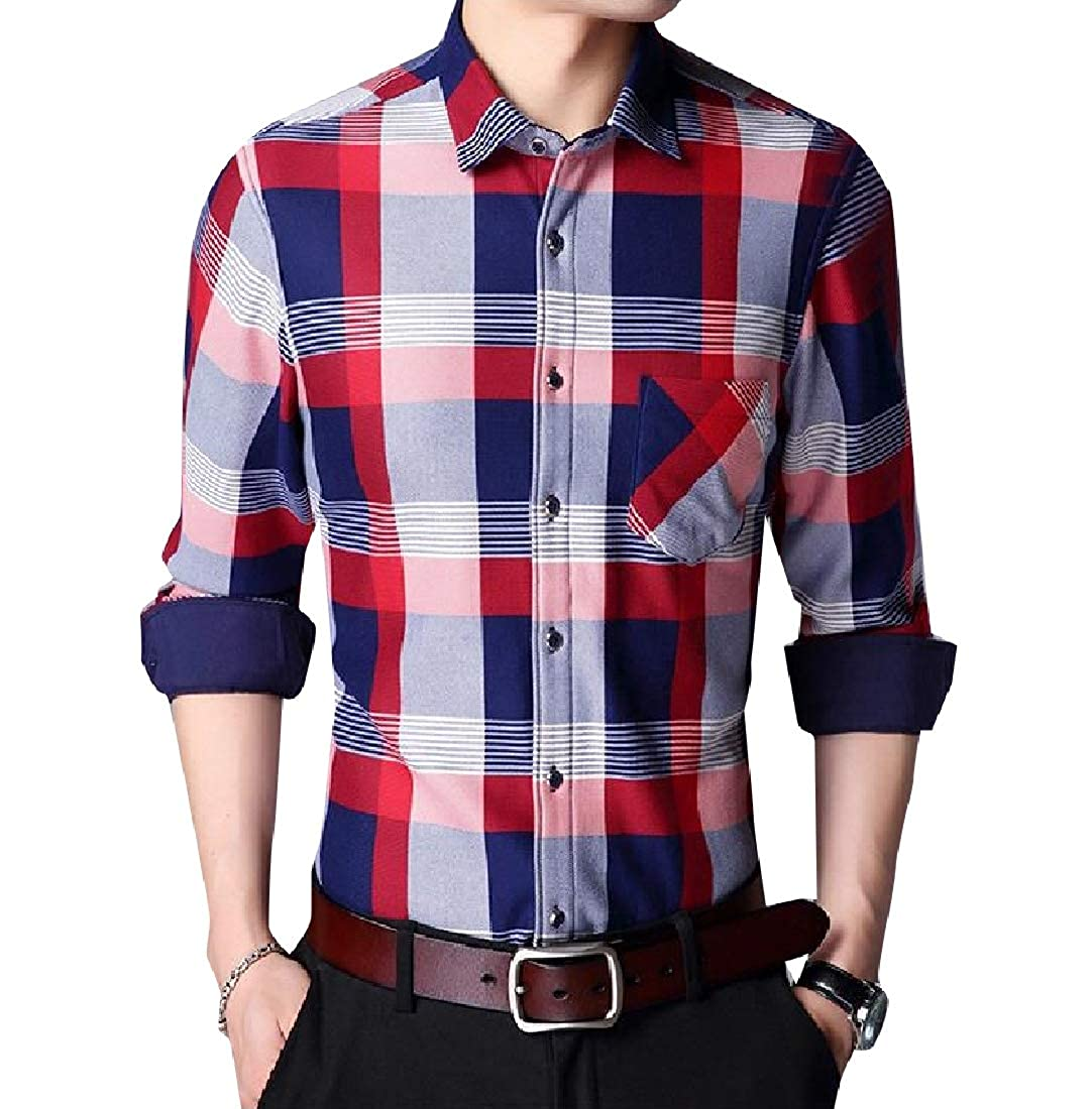 Abetteric Mens Warm Plaid Fleece Relaxed-Fit Long-Sleeve Thickened Shirt