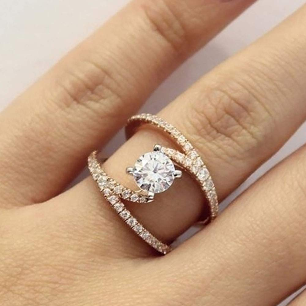 Fashion Geometry Intersect Crystal Rings For Women Girls Engagement Wedding Rings Female Party Jewelry Gifts 2019 (6)