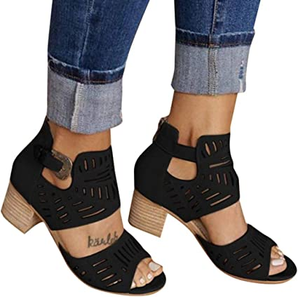 Womens Slip On Low Heel Leather Summer Roman Sandals Gladiator Shoes Mules