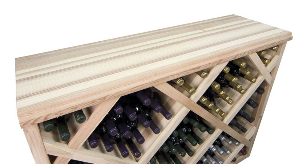 Table Top for Half-Height Bin Style Wine Rack (Redwood with Dark Stain)