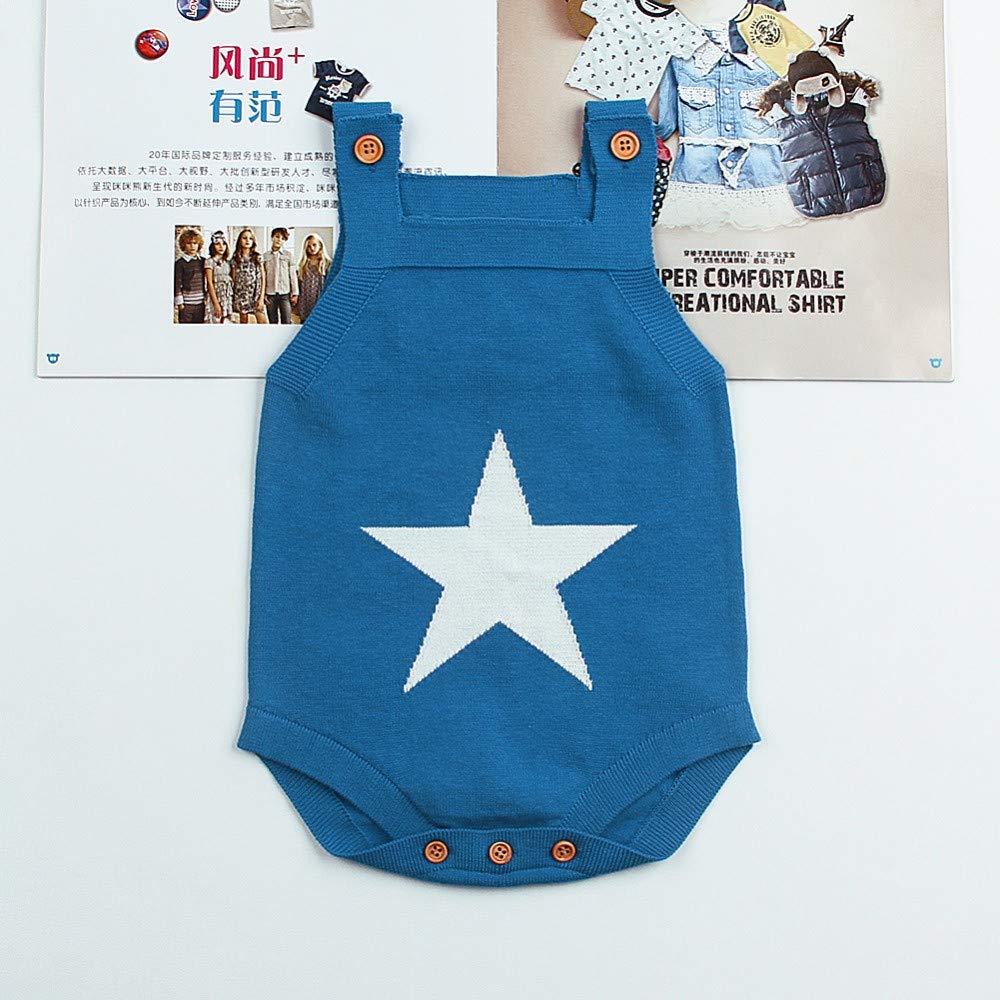 Clothing SaranTung Summer Sleeveless Bodysuits for Boys White Star Knit Newborn Baby Girls Coveralls Grey
