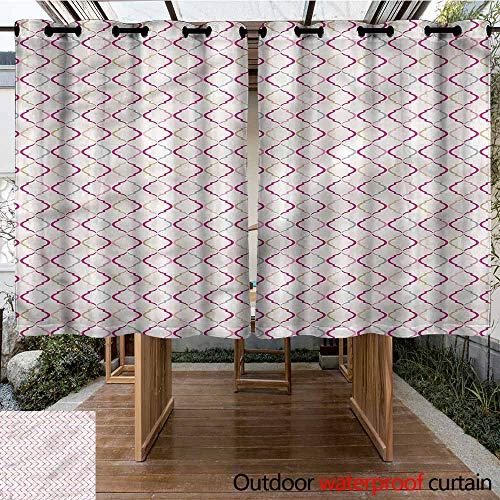 Sunnyhome Custom Outdoor Curtain Trellis Victorian Ancient Oval for Porch&Beach&Patio W 72