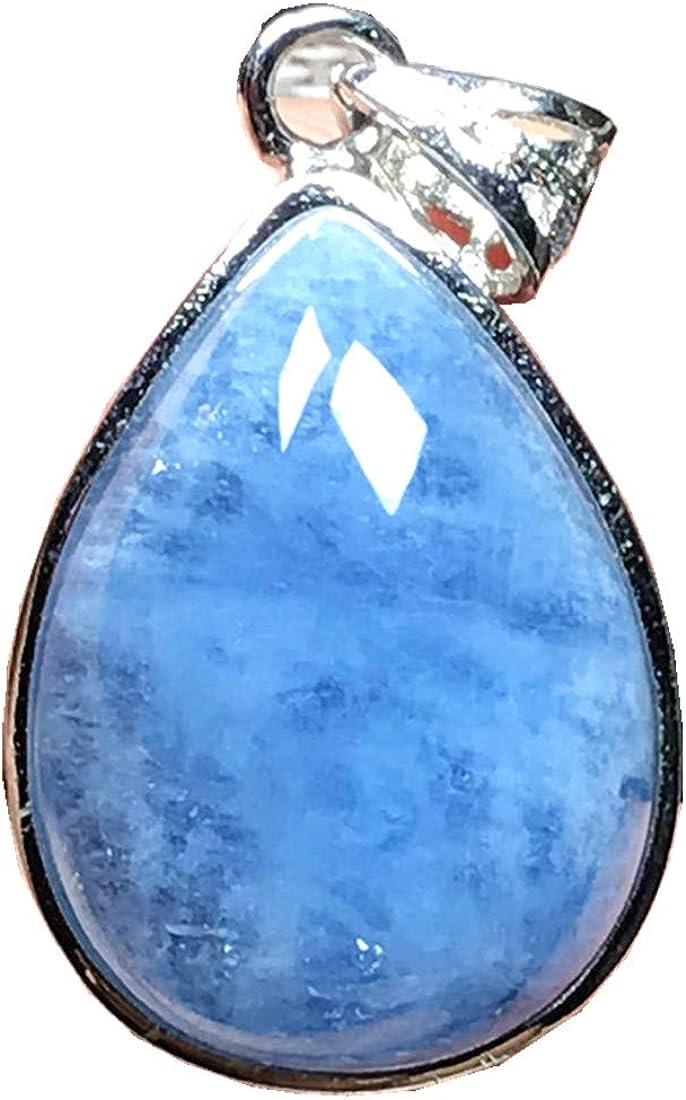 DUOVEKT - Colgante de plata de ley con piedra de aguamarina de color azul océano natural para mujer, hombre, gota de agua, 21 x 15 x 8 mm, cuentas de piedra AAAAA