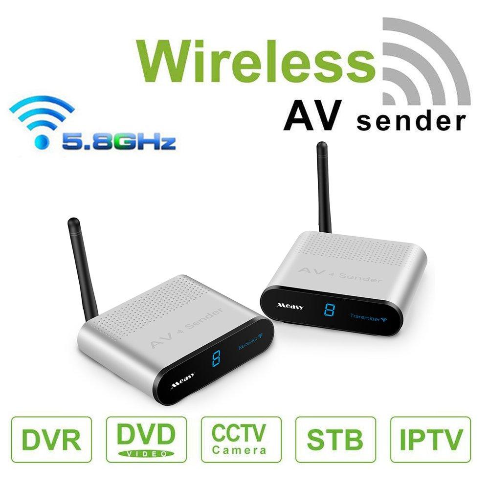 MEASY AV530 5.8G 8 Channel Wireless AV Sender Transmitter & Receiver 300M/1000FT for DVD, DVR, IPTV, Surveillance Cameras and Set-Top Box