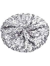 L'VOW Women's Sparkle Sequins Stretch Beret Beanie Hat
