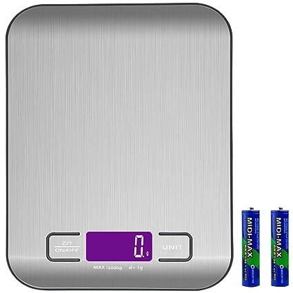Báscula Digital Cocina Balanza de Alimentos Multifunciona Smart Digital Báscula con pantalla LCD para 5 kg