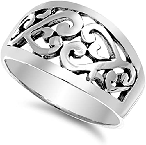 Silver Celtic Moon Rings Sterling Silver 925 Plain Low Price Jewelry Size 9