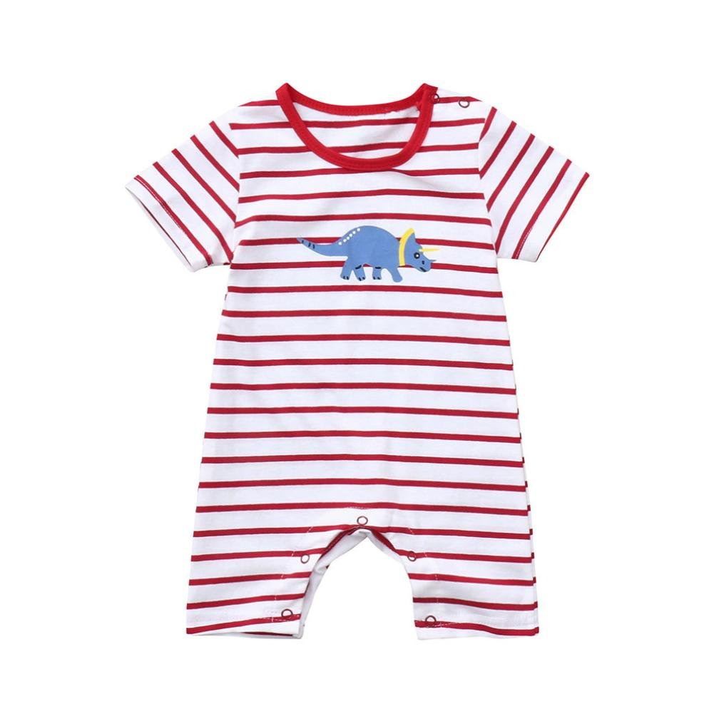Infant Baby Toddler Girls Boys Romper Dinosaur Print Short Sleeve Onesies Playsuits Outfits Clothes 0-2 T