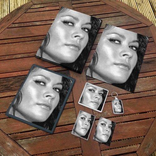 BROOKE BURKE - Original Art Gift Set #js005 (Includes - A4 Canvas - A4 Print - Coaster - Fridge Magnet - Keyring - Mouse Mat - Sketch (Playboy Coasters)