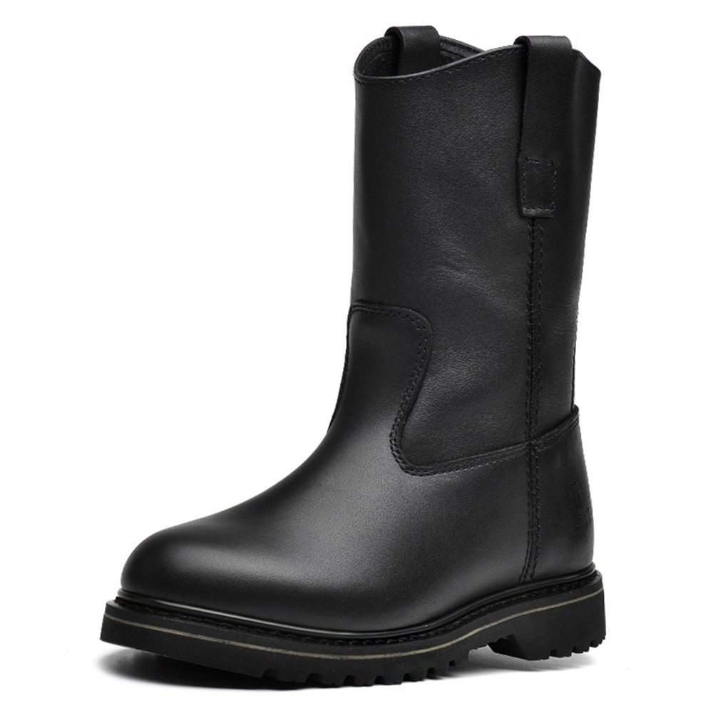 Genuine Leather Women's Motorcycle Boots Retro Fashion Slip On Industrial Work Boots