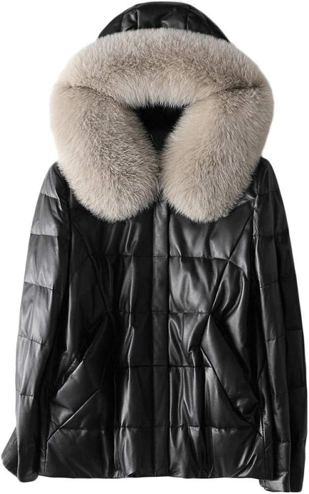 IKMV Chaqueta de plumón de Cuero Genuino para Mujer, Cuello con Capucha y Piel de Zorro, Abrigo de Piel de Oveja de Invierno para Mujer