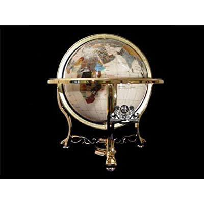 "Unique Art Since 1996 14"" Mother of Pearl Gemstone Globe with Gold Stand: Home & Kitchen"