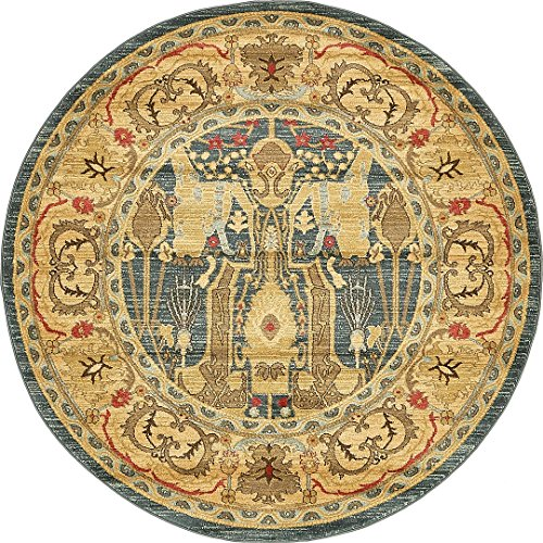 Beautiful Traditional Serapi Cllection Design, Navy Blue 6' FT Round Area Rug - Home Décor Foor Carpet Living Dinning Room and Bedroom Rugs, Warm Up Your Home (Serapi Carpet)