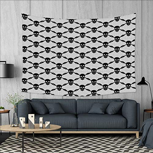 smallbeefly Gothic Tapestry Wall Tapestry Halloween Horror Theme Spooky Black Skulls Checkered Pattern with Skeleton Bones Art Wall Decor 60