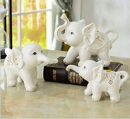 Hello Dream Set of 3 Small (13cm/11cm/8cm) Cute Elephant Family Home Decorative Ornaments (3Pcs) Bone China Material