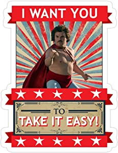 Jess-Sha Store 3 PCs Stickers Nacho Libre, Nacho Libre - I Want You to Take It Easy Sticker for Laptop, Phone, Cars, Vinyl Funny Stickers Decal for Laptops, Guitar, Fridge