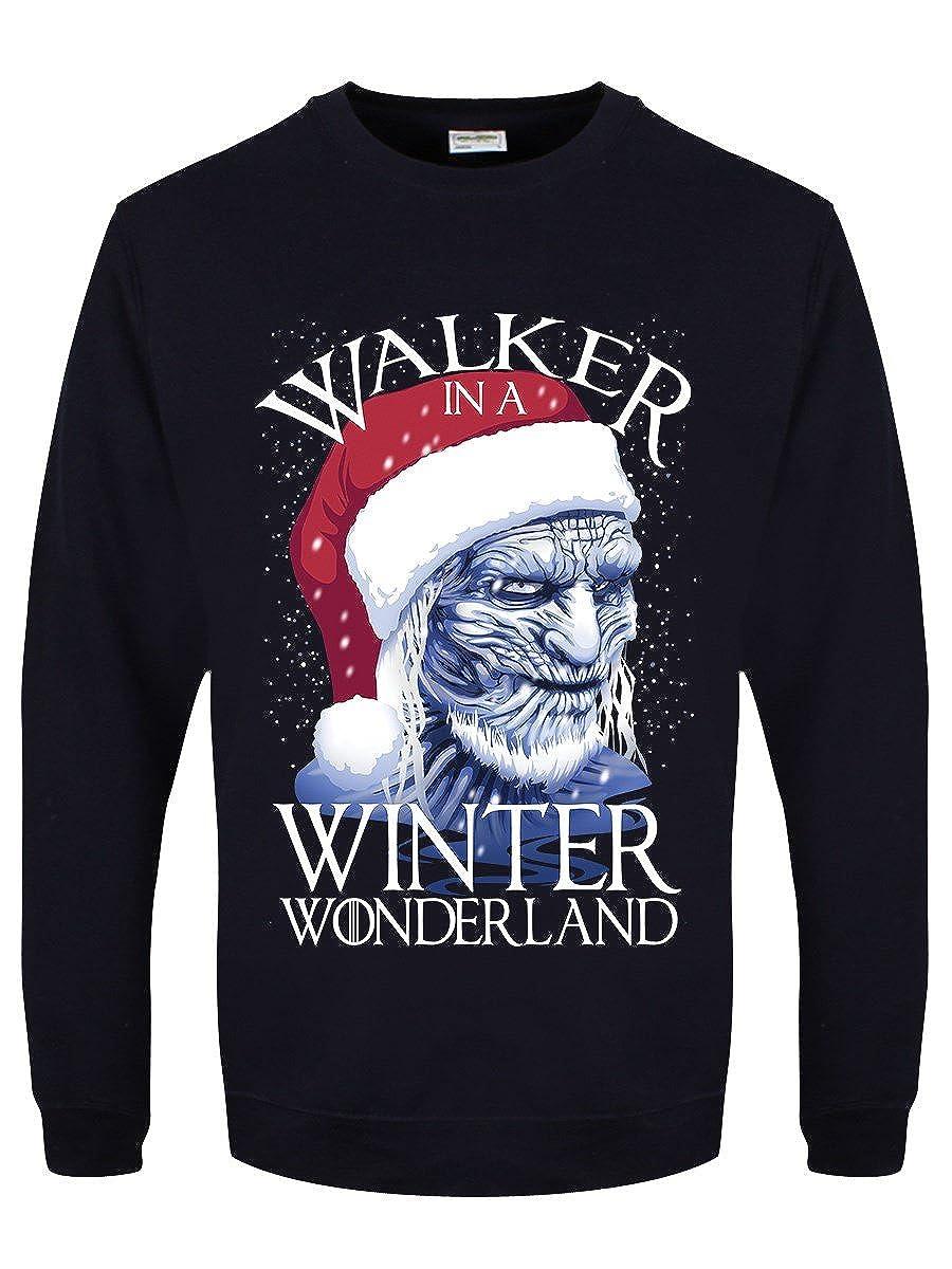 Grindstore Men's Walker in A Winter Wonderland Christmas Sweater Navy