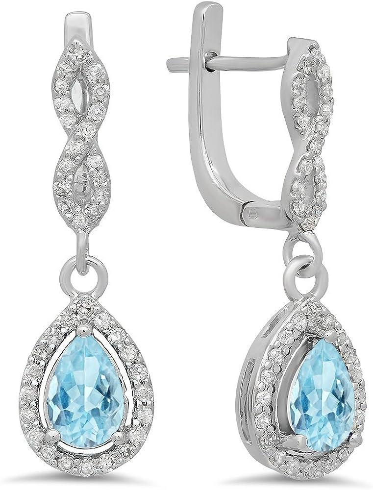 Dazzlingrock Collection 14K Each 7X5 MM Pear Gemstone & Round White Diamond Ladies Halo Teardrop Dangling Drop Earrings, White Gold